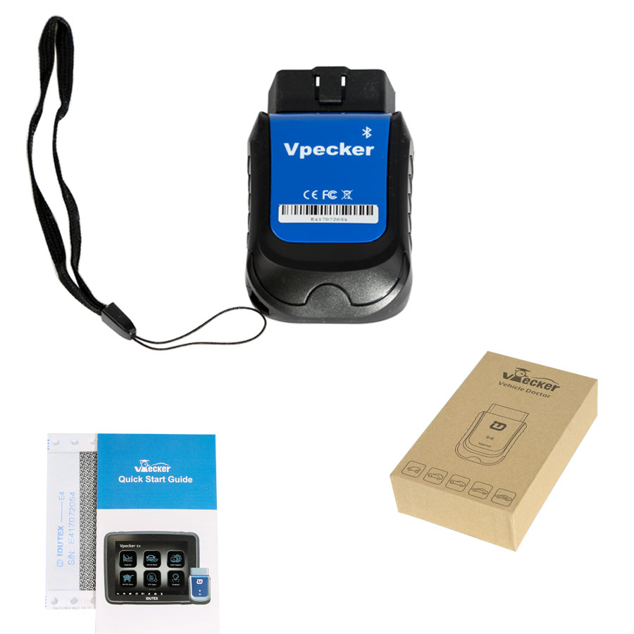 VPECKER E4 Phone Bluetooth Full System OBDII Scan Tool for Android Support ABS Bleeding/Battery/DPF/EPB/Injector/Oil Reset/TPMS